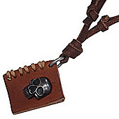 Urban Male Adjustable Brown Leather Necklace with Book and Skull Pendant