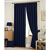 Curtina Hudson 3 Pencil Pleat Lined Curtains 90x90 inches (228x228cm) - Navy