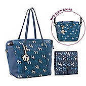 Clevamama Initials Collection Hannah Navy Tote Baby Changing Bag & Mat