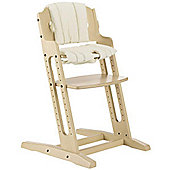 BabyDan DanChair High Chair White Wash With Beige Cushion