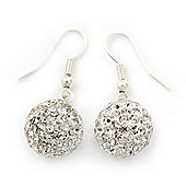 Clear Swarovski Crystal Ball Drop Earrings In Silver Plated Finish - 12mm Diameter/ 3cm