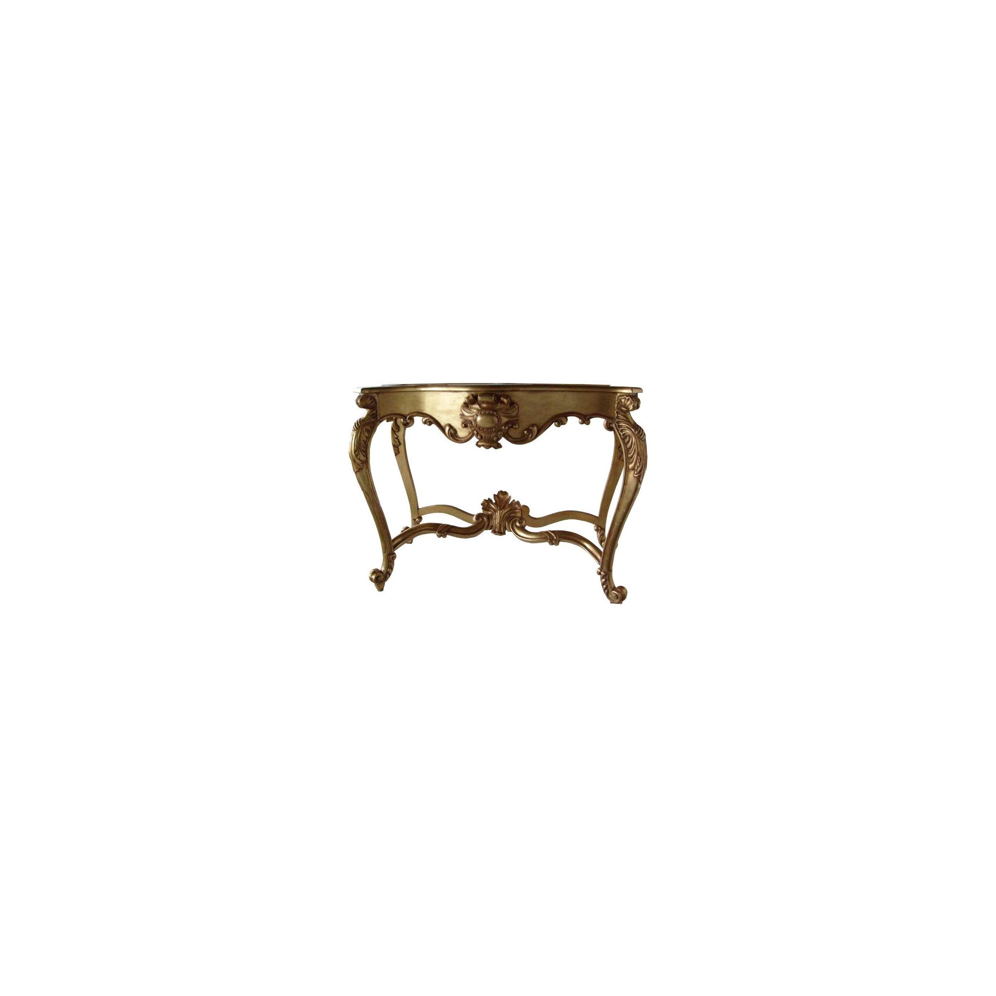 Lock stock and barrel Mahogany Marble Topped Carved Shell Console Table in Mahogany - Gold at Tesco Direct