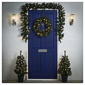 Pre Lit Christmas Door Decoration Set (White LED's)
