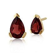 Gemondo 9ct Yellow Gold 0.90ct Garnet Single Stone Classic Pear Stud Earrings