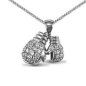 Jewelco London Rhodium Coated Sterling Silver CZ boxing gloves Charm Pendant - 18 inch Chain
