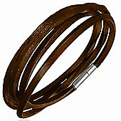 Urban Male Men's Dark Brown Leather Cord Style Wrap Bracelet