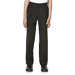 F&F School 2 Pack of Boys Pleat Reinforced Knee Trousers years 09 - 10 Dark Grey