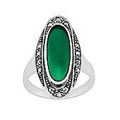 Gemondo 925 Sterling Silver 1.60ct Green Chalcedony & Marcasite Art Deco Ring