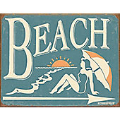 Vintage Beach Tin Sign