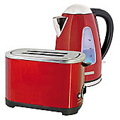 Home Essence Kettle and Toaster Set in Red Steel