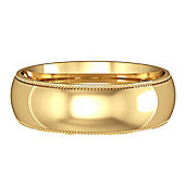 9ct Yellow Gold - 6mm Essential Court-Shaped Mill Grain Edge Band Commitment / Wedding Ring -