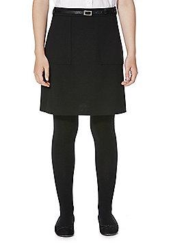 F&F School Patch Pocket Jersey Skirt with Belt - Black