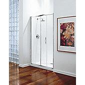 Coram Showers Premier Sliding Door - Polished Silver - Etched Satin Modesty Panel 2 - 100cm