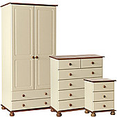 Nordic Cream and Pine Bedside, 2+4 Chest, 2 Door 2 Drawer Robe Package