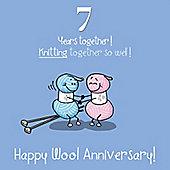 7th Wedding Anniversary Greetings Card - Wool Anniversary