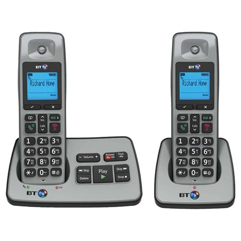 BT 2500 Cordless Twin Phone with Answer Machine - Silver