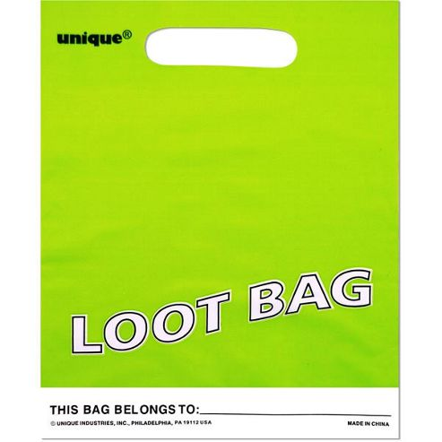 Party Bags Plastic Plain Lime Green (8pk)