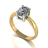 18ct Gold 8x6 Oval Moissanite Single Stone Ring