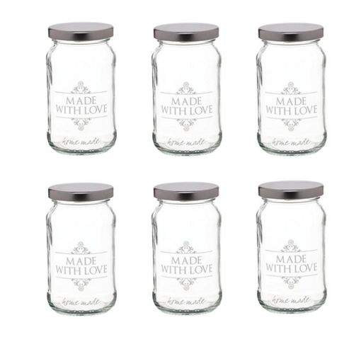 KitchenCraft Home Made Glass Love Preserving Jar, 454ml, Set of 6