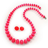 Bright Pink Acrylic Bead Necklace & Stud Earrings Set - 54cm Length