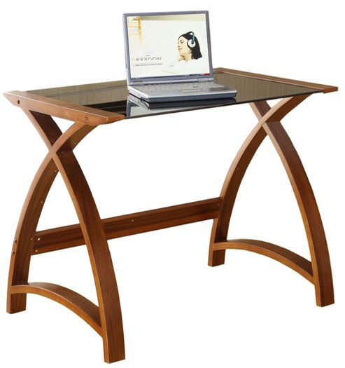 Buy jual curve compact walnut and glass desk from our for Compact glass desk
