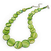 Lime Green Shell Necklace In Silver Plating - 40cm Length/ 3cm Extension
