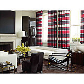 Pimlico Striped Chenille Eyelet Lined Curtains - Red