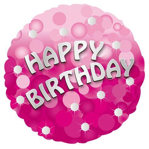 Pink Sparkle Happy Birthday Balloon