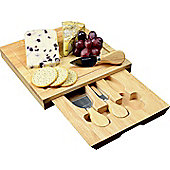 Occasion Square Cheese Board with Drawer and 3 Knives
