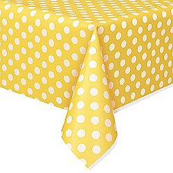 Yellow Polka Dot Plastic Tablecover - 1.4m x 2.8m