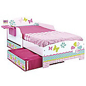 Girls Pretty n Pink Patchwork Toddler Bed with Storage and Shelf