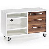 Peak - Mobile Lockable File Drawer / Tv Unit With Storage Shelves - White / Walnut