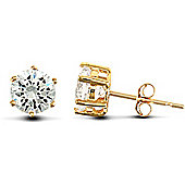 Jewelco London 9ct Solid Gold studs claw-set with 5mm Solitaire CZ stone