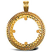 Jewelco London 9ct Solid Gold casted full-size rope design Sovereign coin pendant mount