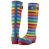 Evercreatures Ladies Festival Wellies Striped Rainbow Pattern 7