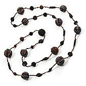 Long Multicoloured Glass Bead Fashion Necklace - 116cm Length