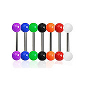Seven Piece Pack Of G23 Titanium Straight Body Piercing Barbells & Acrylic Balls