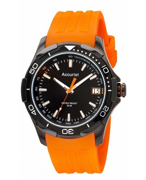 Accurist Gents Orange Rubber Strap Watch MS861BO