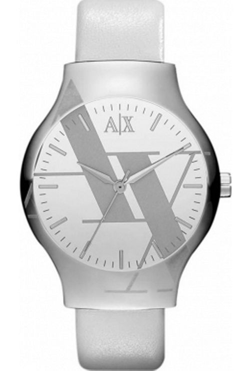 Armani Exchange Ladies White Leather Strap Watch AX3143