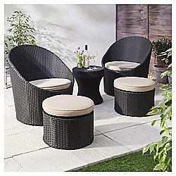 Marrakech 5-piece Rattan Garden Lounge Set, Black & Cream