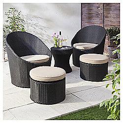 Marrakech 5-piece Rattan Garden Lounge Set, Black & Cream