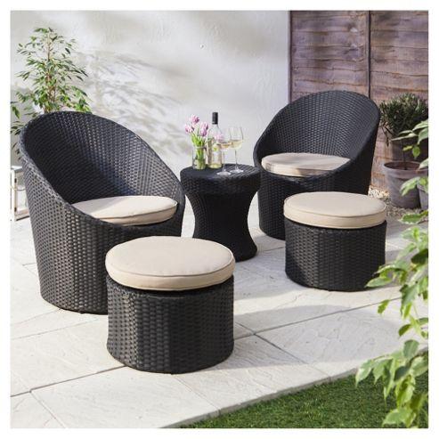 buy marrakech 5 piece rattan garden lounge set black. Black Bedroom Furniture Sets. Home Design Ideas