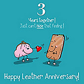 3rd Wedding Anniversary Greetings Card - Leather Anniversary