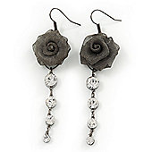Dim Grey Mesh Crystal 'Rose' Drop Earrings - 8cm Length
