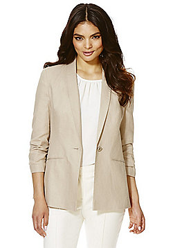F&F Linen Blend Ruched Sleeve Jacket - Stone