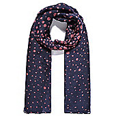 Navy and Pink Polka Print Scarf