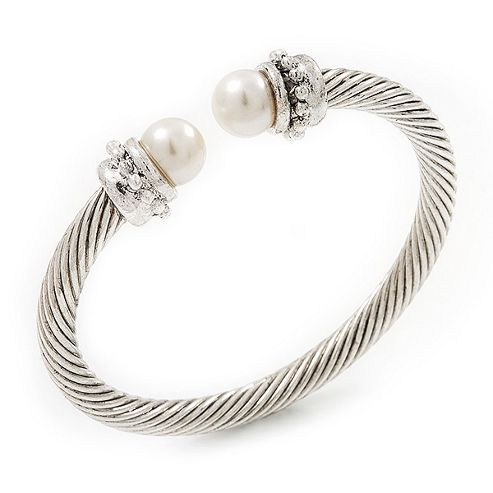 Silver Plated Twisted Simulated Pearl Cuff Bangle - Adjustable