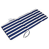 Tesco Striped Polycotton Garden Chair Cushion, Blue & White 112x45cm