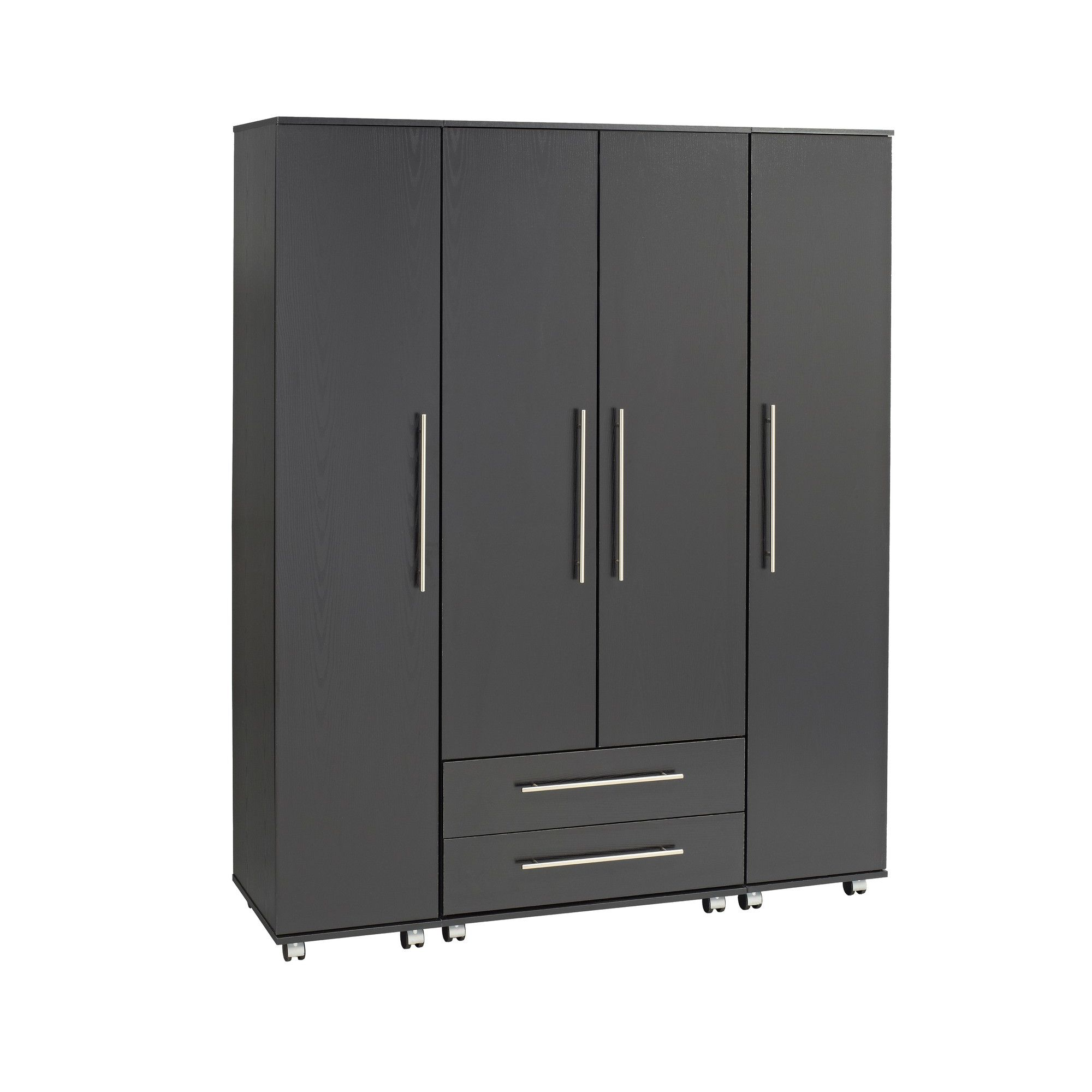Ideal Furniture Bobby 4 Door Wardrobe - Black at Tesco Direct