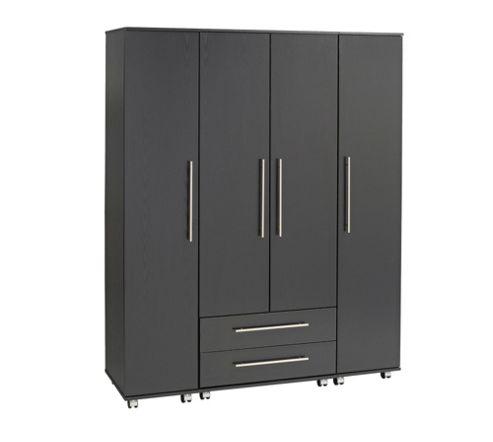 Ideal Furniture Bobby 4 Door Wardrobe - Black